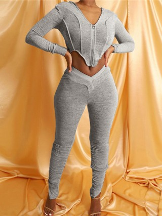 Gray Corp Zipper Hood Top Jogger 2 Pieces Set Womens Latest Clothes