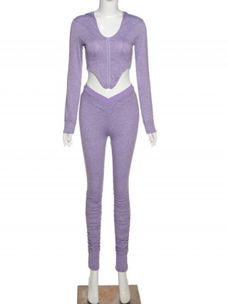 Purple Cropped Ruched Two-Piece Outfit With Zip All Over Smooth