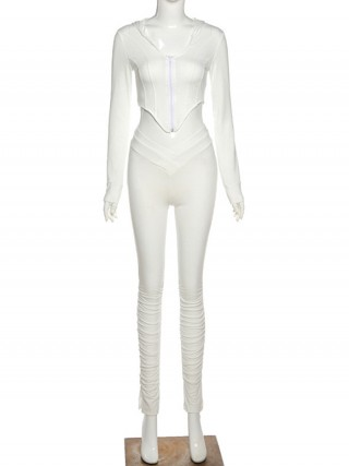 White Long Sleeve Hood Top Ruched Jogger Suit Super Sexy