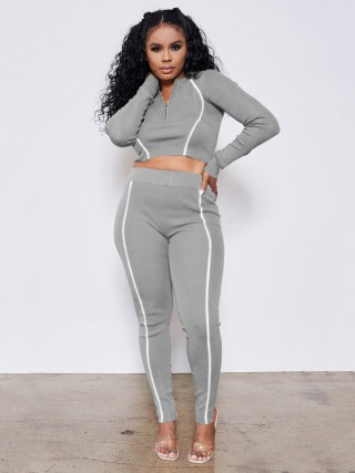 Gray Zip Neckline Two Piece Outfit Full Sleeve Comfort Fashion