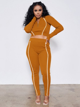 Earthy Yellow Long Sleeve Crop Top High Waist Pants Fashion Essential