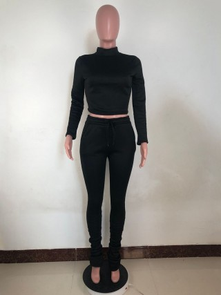 Black High Waist Mock Neck Two Piece Outfits Amazing Look