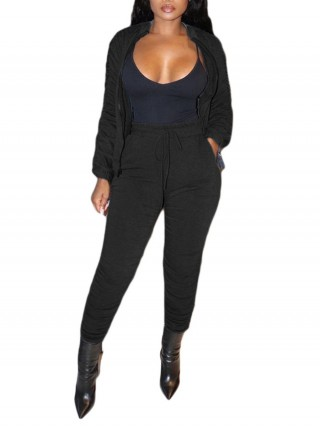 Black Pleated Solid Color Zipper Women Set Casual Wear