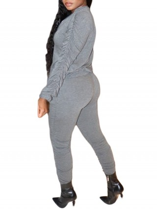 Gray Long Sleeve Top Elastic Waist Pants For Female