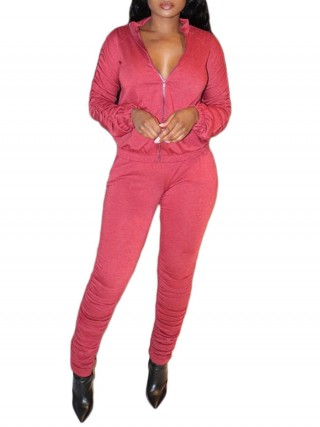 Pink Sweat Suit Drawstring Zipper Side Pockets For Streetshots