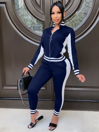 Navy Blue Stand-Up Collar Full Length Sweat Suit Feminine Charm