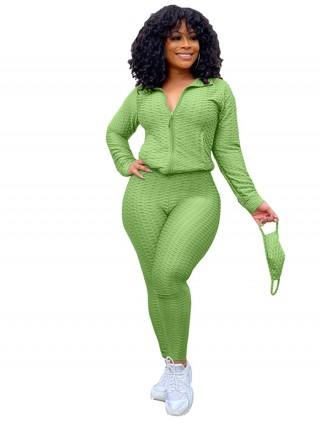 Green Women Suit Solid Color With Mask For Women