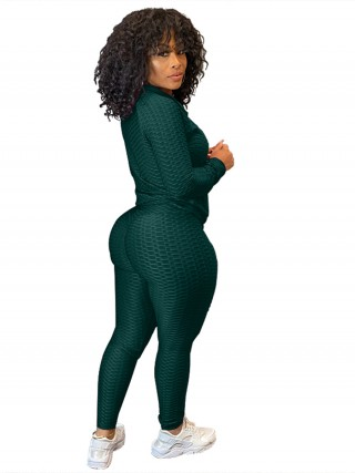 Blackish Green Sweat Suit Full Length Side Pockets Women's Fashion