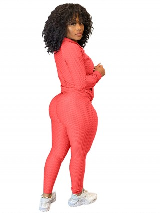Watermelon Red Side Pockets Big Size Zipper Women Suit Women Outfit