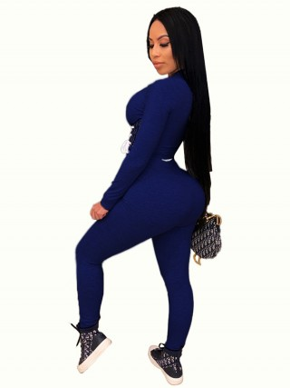 Royal Blue Full Sleeve Shirt High Rise Leggings Breath