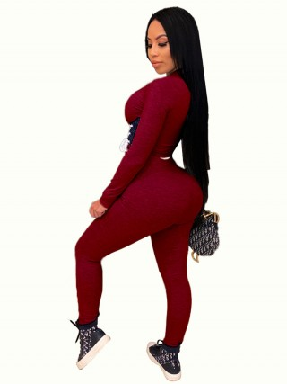 Wine Red Women Suit Contrast Color Full Length Womens Apparel