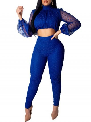 Funny Blue Turtleneck Top And Zip High Rise Pants For Ladies
