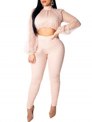 Dynamic Light Pink Turtleneck Top Suit Mesh Patchwork Trendy Clothes