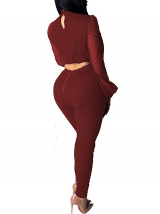 Vivifying Wine Red Hollow Out High Waist Dot Two-Piece Charm