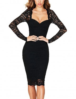Charming Black Lace Patchwork Full Sleeve  Bodycon Dress Female Fashion