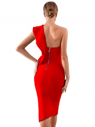 Energetic Red Bandage Dress Ruffles One Shoulder Sensual Curves