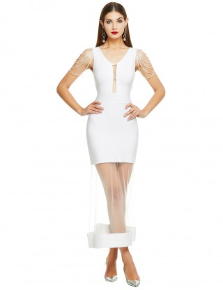 White Sleeveless Hollow Sheer Mesh Bandage Dress Elastic Material