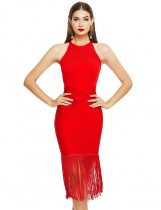 Cheap Red Crew Neck Sleeveless Tassel Hem Bandage Dress Great Quality