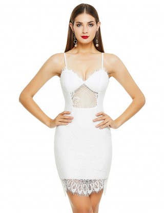 Sultry White Sling Lace Patchwork Sheer Bandage Dress Stretchy
