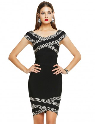 Frisky Black Geometric Pattern Cap Sleeve Bandage Dress Casual Comfort