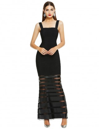 Energetic Black Square Neck Bandage Dress Leather Patchwork For Vacation
