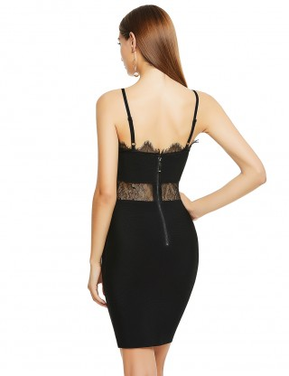 Enchanting Black Adjustable Straps Lace Bandage Dress Cool Fashion