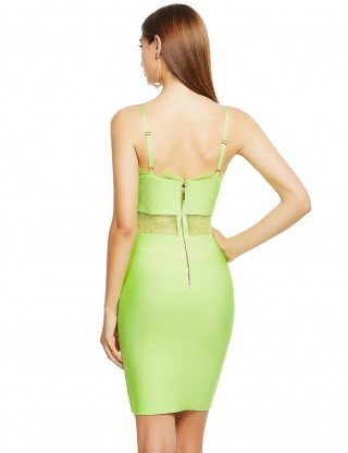 Fetching Light Green Lace Patchwork Bandage Dress Open Back Cheap