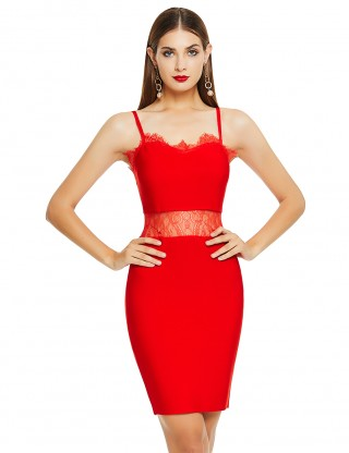 Fabulously Red Perspective Bandage Dress Sling Lace Outdoor