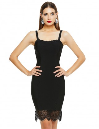 Soft Black Lace Patchwork Adjustable Strap Bandage Dress For Playing