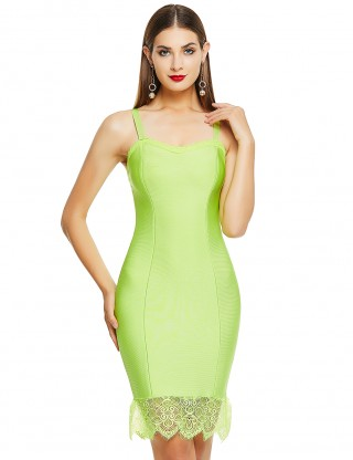 Breathtaking Light Green Tight Bandage Dress Sweetheart Neck Lace