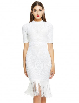Silhouette White Half Sleeve Bandage Dress Tassel Hem For Ladies