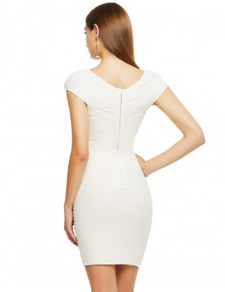 Entrancing Apricot Zip At Back Bandage Dress Cap Sleeve Fashion Style