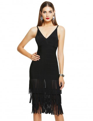 Sparkly Black Tiered Tassel V-Neck Low Back Bandage Dress Charming