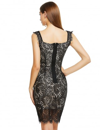 Conservative Black Wide Straps Lace Patchwork Bandage Dress Shop
