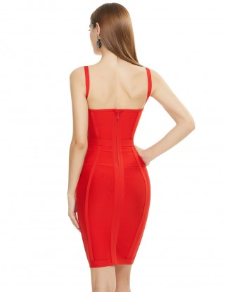 Silhouette Red Bandage Dress Knee Length Sleeveless Backless