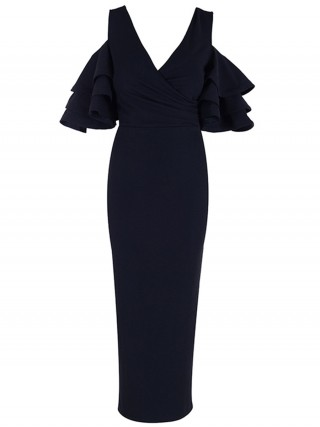 Honey Black V Neck Evening Dress Layered Sleeves Shop Online