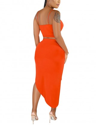 Orange Cami Top And Asymmetrical Hem Shirring Skirt Understated Design