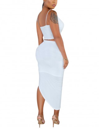 Socialite White Sling Shirring High-Low Hem Skirt Set Chic Online