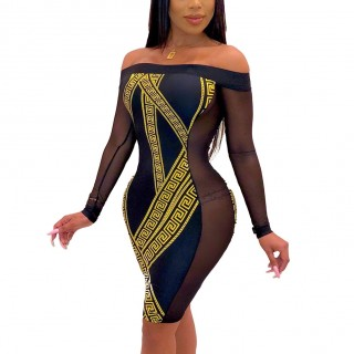 Figure-Hugging Black Sheer Mesh Long Sleeve Bodycon Dress Luscious