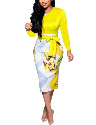 Yellow Women Formal Clothing Ladies Slim One-piece Dress With Belt Women Outfits