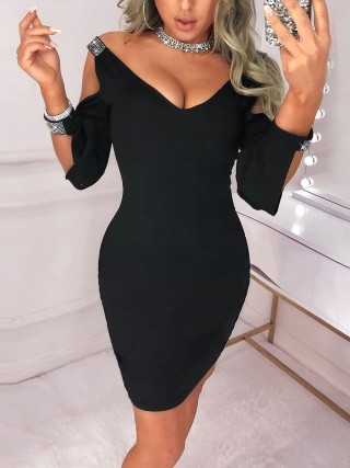 Showy Black Bodycon Dress Plunge-V Solid Color Feminine