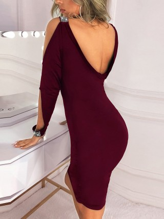 Diva Wine Red Glitter Bodycon Dress Open Back Straps Romance Time