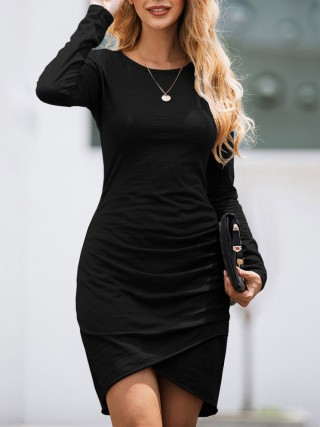 Supper Fashion Black Full Sleeve Solid Color Bodycon Dress Comfort Devotion