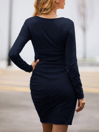 Dark Blue Cross Hem Bodycon Dress Long Sleeve Ultimate Comfort