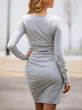 Fantasy Gray Side Shirring Crew Neck Bodycon Dress Nice Quality