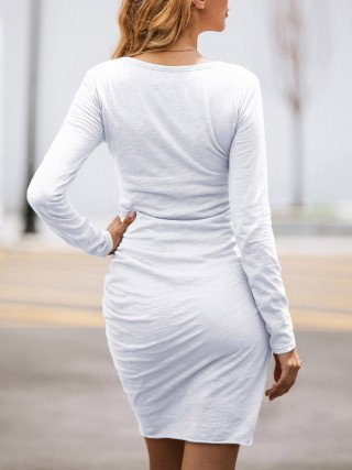 Fabulous Fit White Round Neck Cross Hem Bodycon Dress Delightful Garment