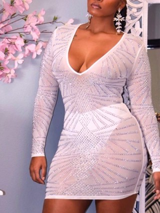 Wonderful White Deep V-Neck Mesh Bodycon Dress Women's Essentials