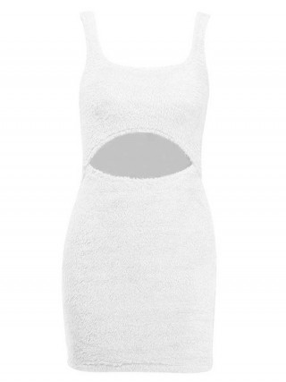 White Hollow Out Bodycon Dress Solid Color Contouring Sensation