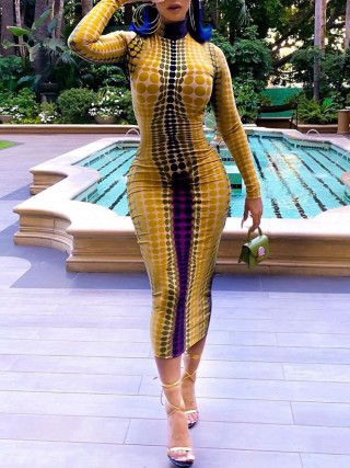 Glittering Yellow High Neck Bodycon Dress Dot Printed Fashion Style
