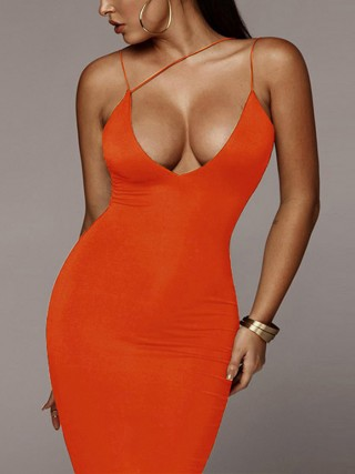 Stylish Orange Sling Plunge Neck Bodycon Dress For Party